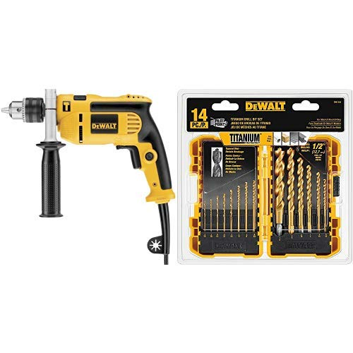 (DEWALT DWE5010 1/2-Inch Single Speed Hammer Drill with DEWALT DW1354 14-Piece Titanium Drill Bit Set )