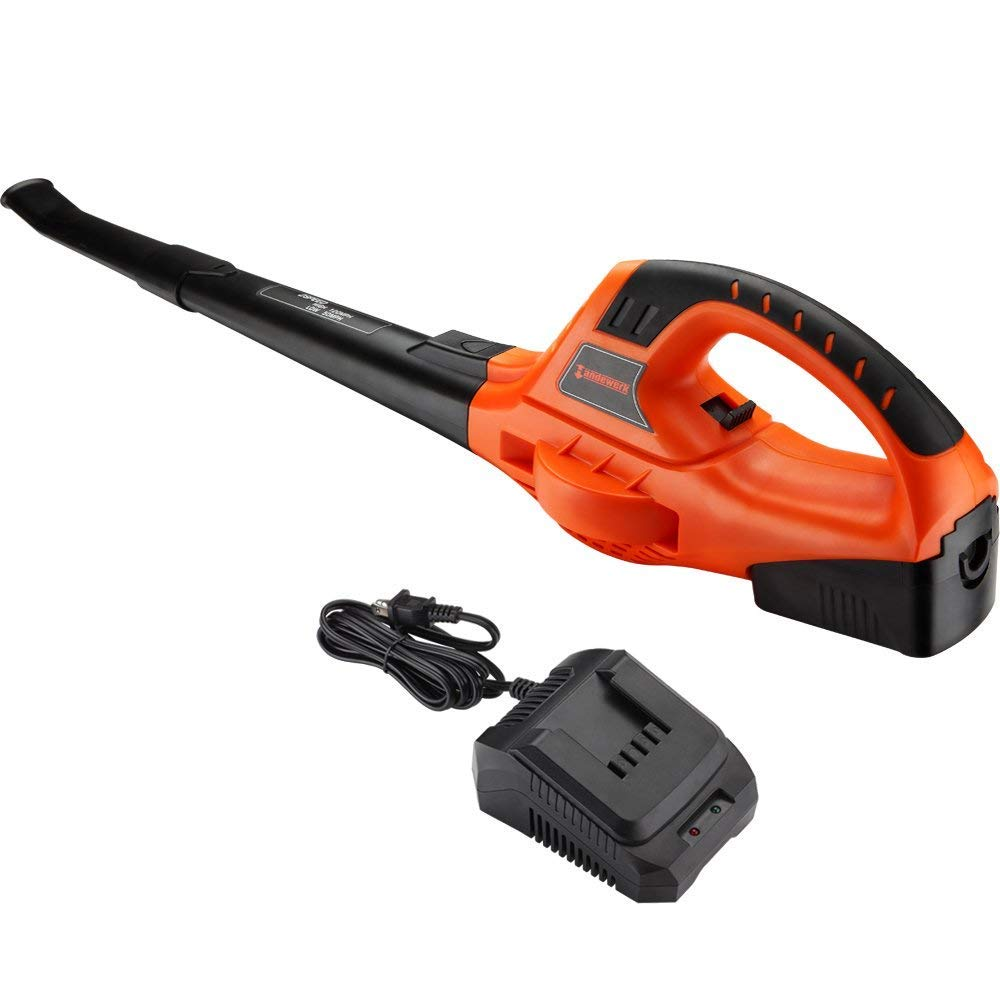 Homestock 18V MAX 130 MPH Leaf Blower Handheld Lithium Cordless Sweeper Variable Speed Battery and Charger Included