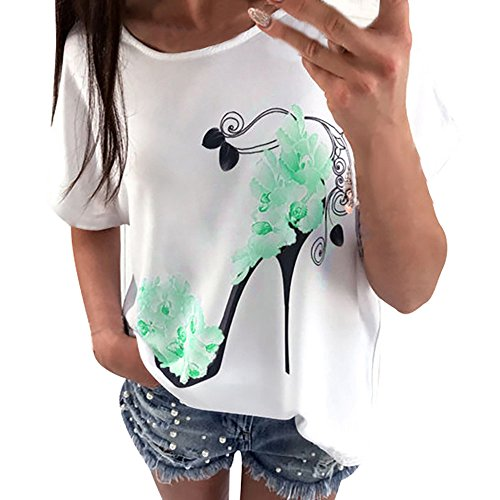 Willow S 2019 New Creative O-Neck Short Sleeve Noble Fashion High Heels Printed Loose Plus Size T-Shirt Top Blouse Green