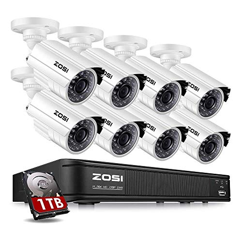 Zosi 720p Hd Tvi Home Surveillance Camera System 8 Channel Security Dvr With 1tb Hard Drive And 8 Hd 1 0mp 1280tvl Outdoor Indoor Day Night Cctv Cameras Renewed