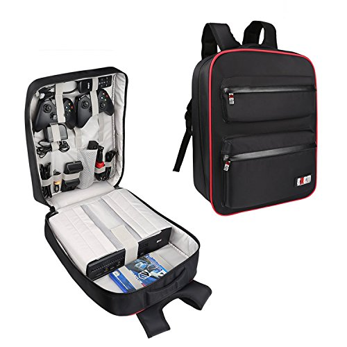Playstation Wii Console (Universal Gaming Backpack,Travel Game System Carrying Case Storage Bag for Sony Playstation 4/PS4 Slim/PS4 Pro/Xbox ONE/XB1S/Xbox ONE X/WII U/PS3/XBOX 360 Systems and Accessories,Black)