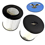 HQRP 2-pack 7'' Filter for VACUFLO FC300, FC550, FC650, FC310, FC520, FC530, FC540, FC610, FC620 H-P Central Vacuum Systems, 8106-01 Replacement + HQRP Coaster