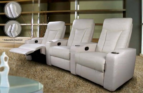 Pavillion Theater Seating - 3 White Leather Chairs by Coaster Furniture