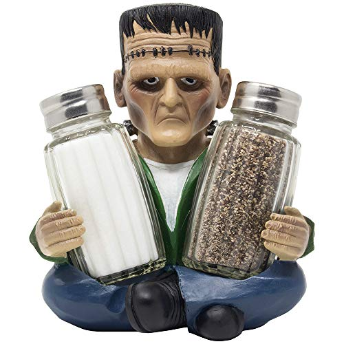 Whimsical Frankenstein the Monster Salt and Pepper Shaker Set or Decorative Tabletop Spice Rack for Scary Halloween Decorations and Spooky Gothic Décor Figurines or Funny Gag Gifts for Men
