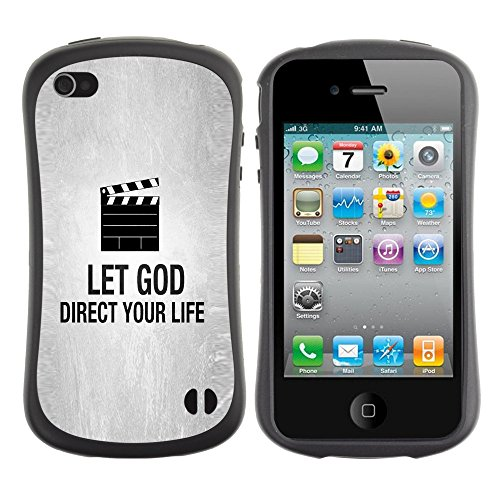 DREAMCASE Citation de Bible Silicone et Rigide Coque Protection Image Etui solide Housse T¨¦l¨¦phone Case Pour APPLE IPHONE 4 / 4S - LET GOD DIRECT YOUR LIFE