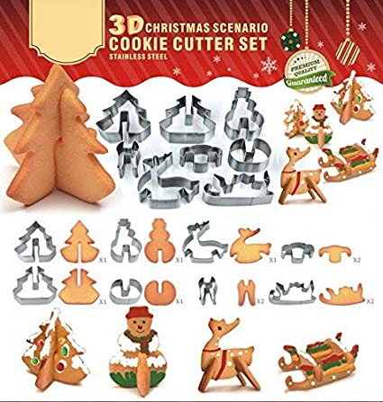 Outerdo Christmas Cookies Cutter 8pcs Cake Biscuit Moulds Stainless Steel Diy Baking Tools 3d