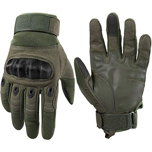 WTACTFUL Touchscreen Motorcycle Tactical Full Finger Gloves for Airsoft Paintball Cycling Motorbike ATV Hunting Hiking Riding Racing Climbing Operating Work Outdoor Sports Gloves Size Small Green