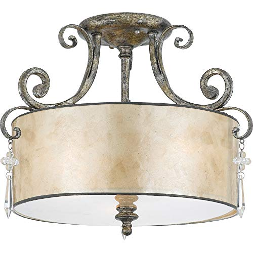 Quoizel KD1716MM Three Semi-Flush Mount Ceiling Light Large Mottled Silver