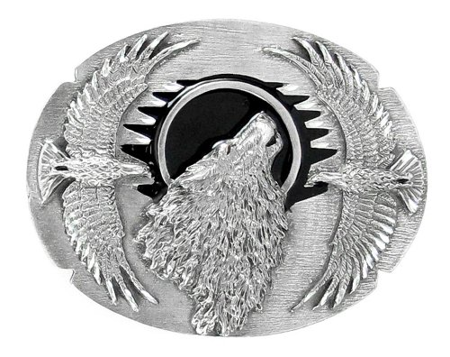 Wolf Head Framed with Eagles Belt Buckle (Diamond Cut)