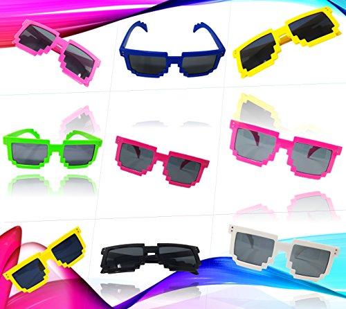 Play Kreative 6 Colorful Pixel BLOCK 8 NERD GEEK Video Gamer Party - Party Pixel Sunglasses