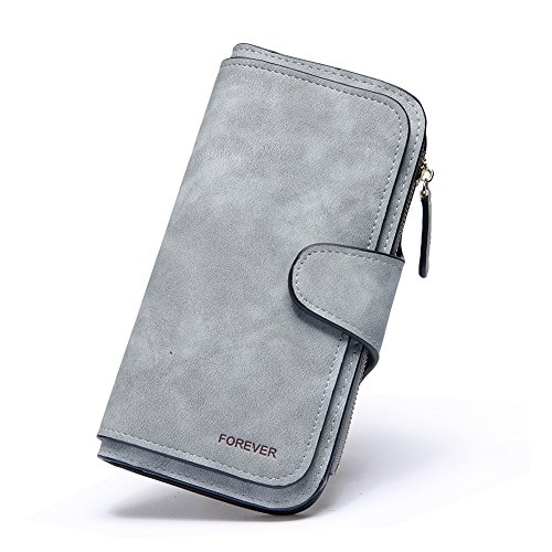 Wallet for Women PU Leather Clutch Purse Bifold Long Designer Ladies Checkbook Multi Credit Card Holder Organizer with Coin Zipper Pocket Gray