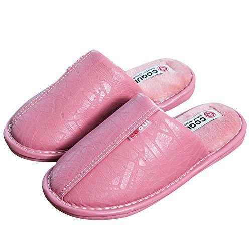 Confort WDGT Maison Hommes d'intérieur Respirant Chaussons Cuir on 001 Chaud d'hiver Femmes Peluche Anti Couple Coton Pantoufles de en Slip Slip pour en Pantoufles 6wIq6r
