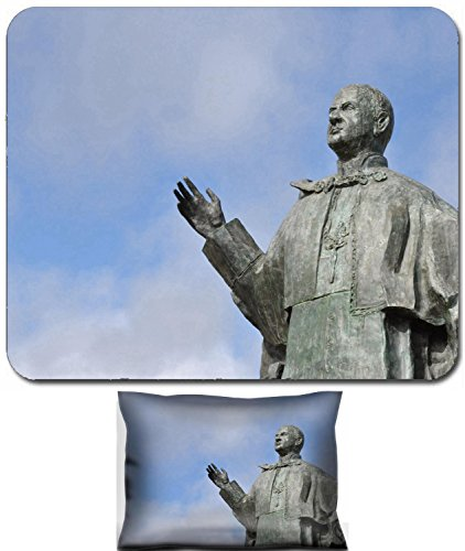 Paul Statue Pope (Liili Mouse Wrist Rest and Small Mousepad Set, 2pc Wrist Support bronze statue of Pope John Paul VI in Leiria Portugal Photo 7783231)