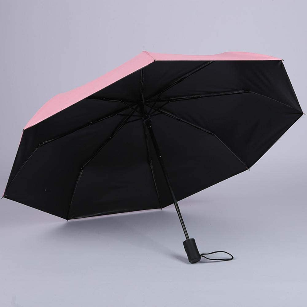 TtKj Folding Umbrella Tri-fold Black Glue Solid Color Business Folding Sun Visor Automatic Umbrella 5696cm