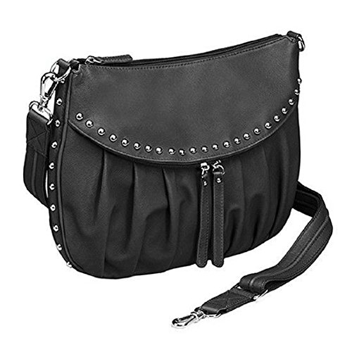 GTM-50 Studded Uptown Black Pleated Concealed Carry Purse by Gun Tote'n Mamas