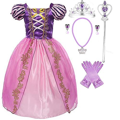 Girls Rapunzel Deluxe Princess Party Dress Costume (2-3, Style 5)