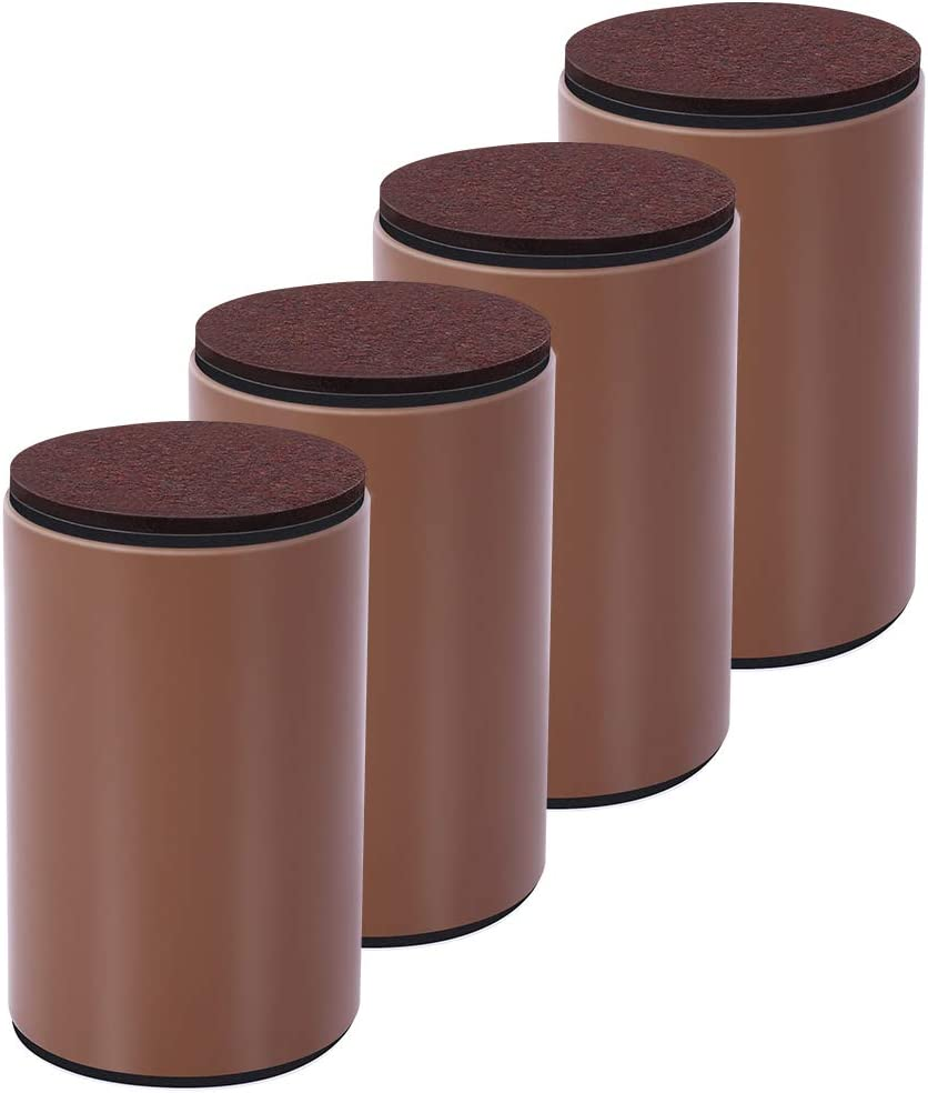 """4 Packs Bed Furniture Risers - Lifts Height 4"""" - Heavy Duty Solid Steel Risers for Couch, Table, Chair with Non-Slip Bottom Felt Pad, Protect Floors and Surfaces, Round Brown"""