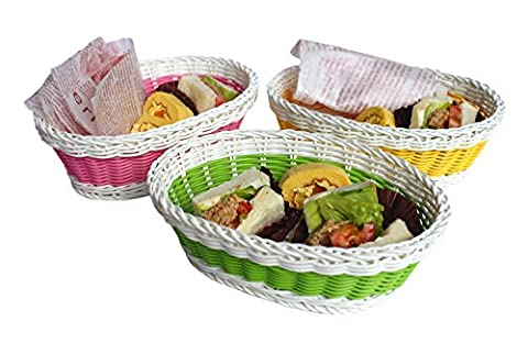 Woven Bread Roll Baskets,Set of 3,Oval Shape,9-1/2-inch Long,Green/Pink/Yellow/White,Honla - Hand Woven Oval Basket