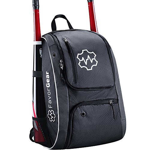 FavorGear Youth Baseball Bag - Backpack for Baseball, T-Ball, Softball Equipment Gear for Kids, Youth, and Adults - Fits 2 Bats, Helmet, Glove, Shoes - Vented Shoe Compartment, Fence Hook (Bat Case Carrying)