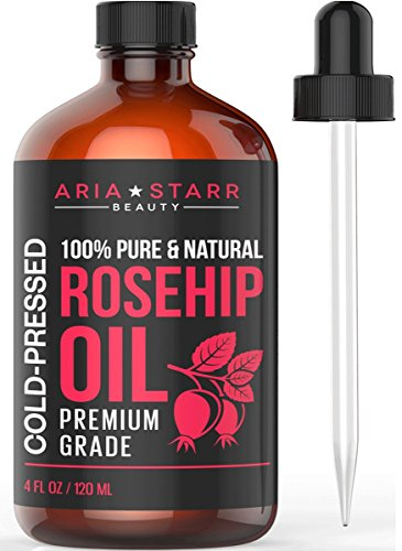 Aria Starr Rosehip Seed Oil Cold Pressed For Face, Skin & Scars - 100% Pure Natural Moisturizer - 4 OZ