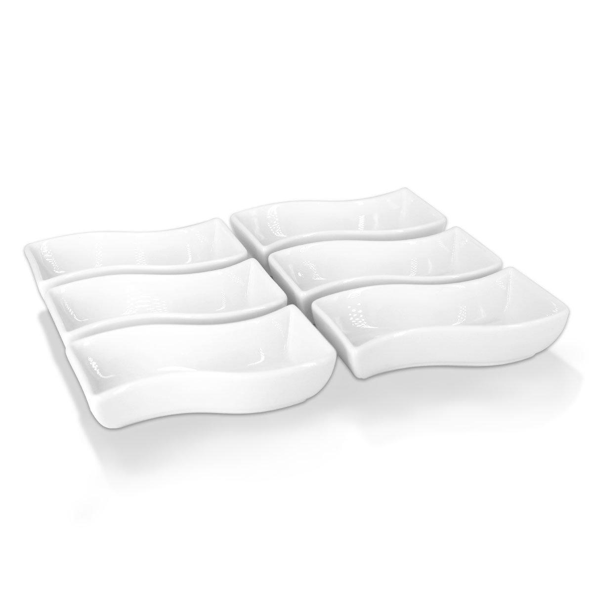 Appetizer Bowls Condiment dish-Soy Sauce Dish Condiment Serving White Porcelain Serving Bowls/Ramekin/Sushi,Set of 6,1oz Each