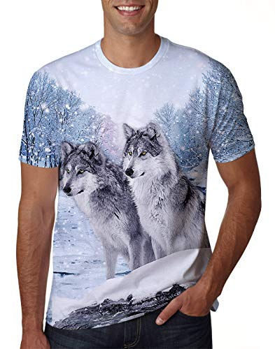 Uideazone Printed Forest Wolf Shirt Teen Casual Graphic Tee -