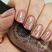 Rose Gold Thistle | Rose Gold Glitter Nail Polish with Silver & Gold Holo Glitter | by Black Dahlia Lacquer