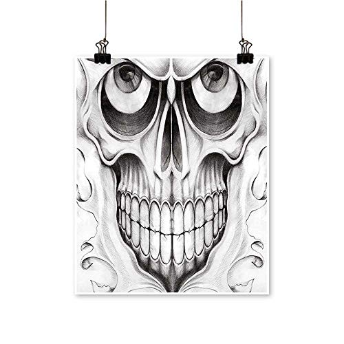 Canvas Painting Dead Scary Skull Face Angry F tive Image Black White and Light Grey Artwork for Living Room Decorations,24
