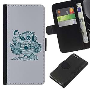 KingStore / Leather Etui en cuir / Apple Iphone 5C / Pájaro abstracto