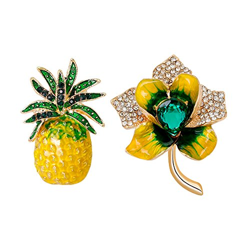 Brooch Fruit Pin (Bella-Chic Women Gold-Tone Pineapple Fruit and Flower Brooch Pin Sets)