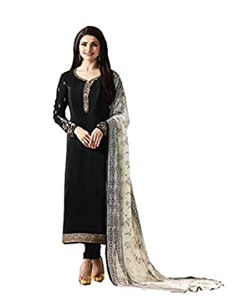 108e16d71f Amazon.com: Laxminarayan Crepe Silk Embroidered Indian Pakistani Churidar  Salwar Suit: Clothing