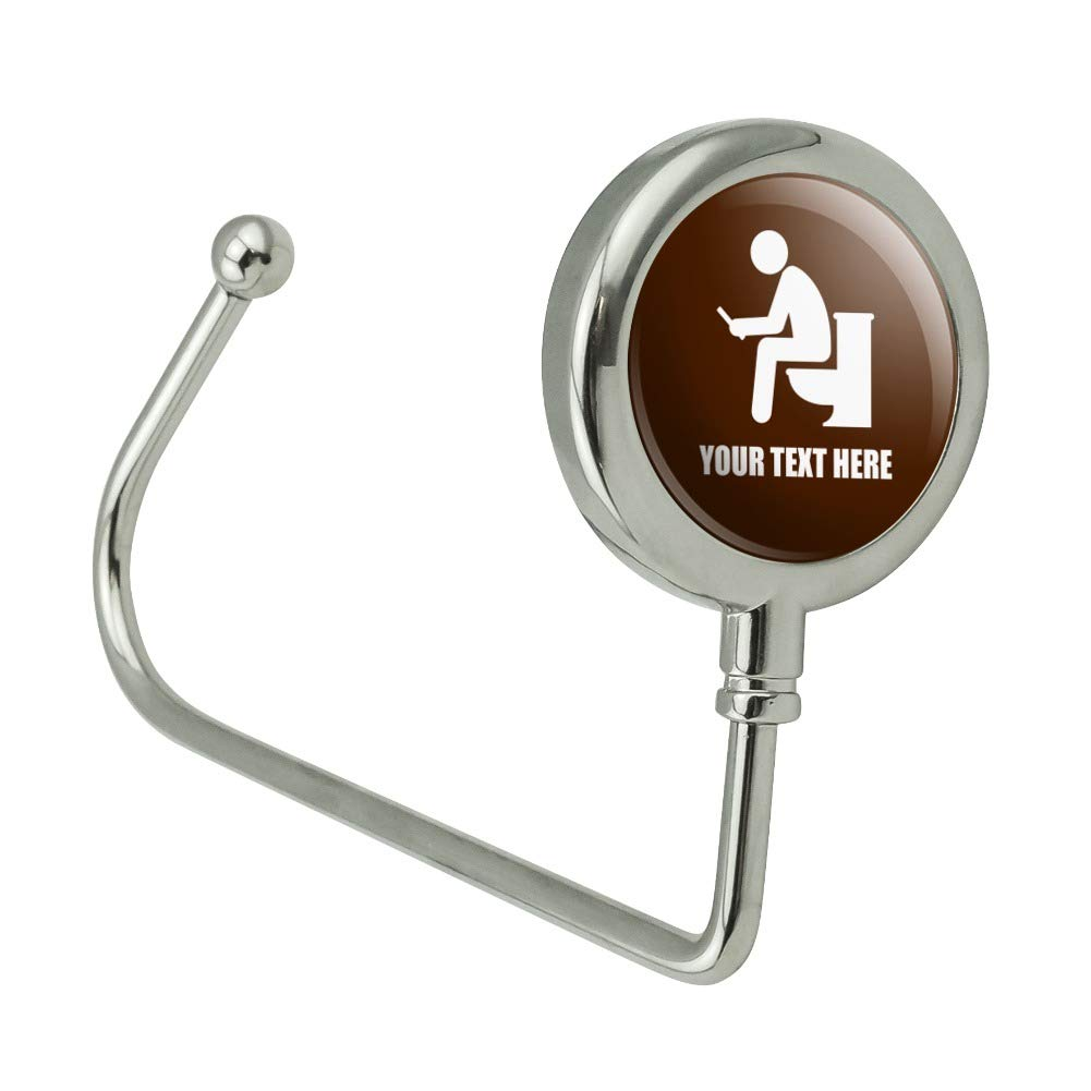 Personalized 1 Line Man Pooping Toilet Purse Bag Hanger Holder Hook