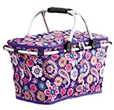 Paisley Collapsible Insulated Tote Baskets
