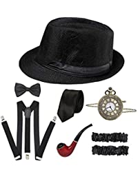 CHUANGLI 1920S Mens Great Gatsby Accessories Set Roaring 20s 30s Retro Gangster Costume