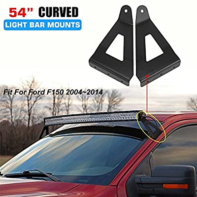 "AUXMART Upper Windshield Mounting Brackets for 54"" Curved LED Light Bar Work lights Fit 2004-2014 Ford F150 (1 Pair): Automotive"