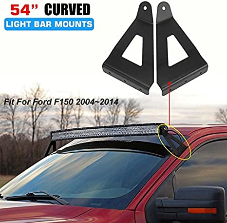 Auxmart Upper Windshield Mounting Brackets For 54 Curved Led Light Bar Work Lights Fit 2004 2014 Ford F150 1 Pair