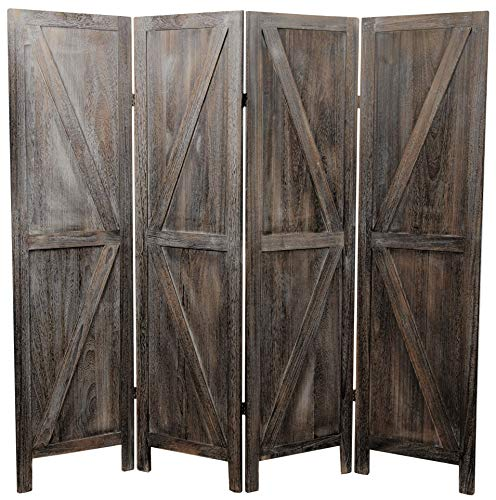 Premium Home Room Divider: Room dividers and Folding Privacy Screens, Privacy Screen, Partition Wall dividers for Rooms, Room Separator, Temporary Wall, Folding Screen, Rustic Barnwood (Barnwood) (Screens Room Divider Small)