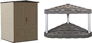 Rubbermaid Outdoor Medium Storage Shed, Large Vertical, Brown & 5A47 30 Tool Corner Tool Rack