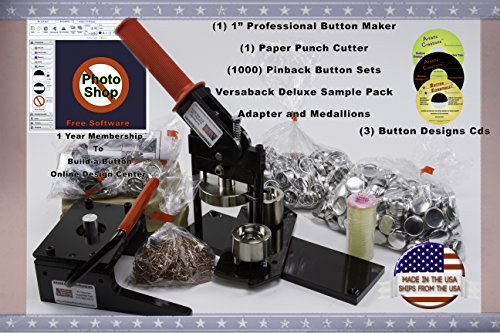 """1"""" Button Maker Machine + Punch Cutter + 1000 Complete Pinback Button Sets + Deluxe Sample Kit + Cds + Software From American Button Machines"""