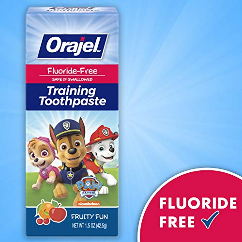 51YJQ3Xql L - Orajel Paw Patrol Fluoride-Free Training Toothpaste, Fruity Fun Flavor, One 1.5oz Tube: Orajel #1 Pediatrician Recommended Brand For Kids Non-Fluoride Toothpaste
