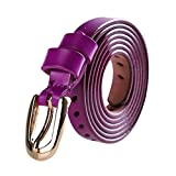 sourcingmap Women Hollow Alloy Pin Buckle Solid Color Skinny Belt Purple Width 1/2'