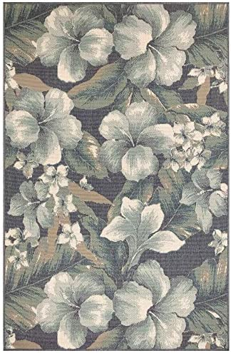 Liora Manne 7649 33 Tropical Flower Navy Rugs, 7 10 X9 10