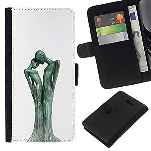 Figuras Estatuas Arte Hombre Mujer- la tarjeta de Crédito Slots PU Funda de cuero Monedero caso cubierta de piel Para Sony Xperia M2
