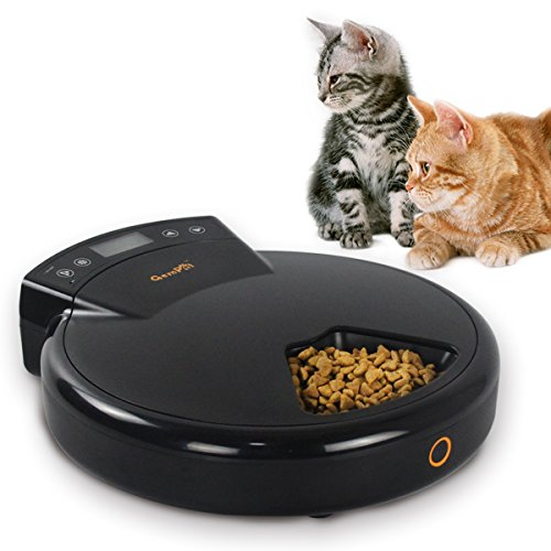 Gempet Automatic Pet Feeder for Cats and Dogs, Auto Pet Food Dispenser, Programmable with Timer and Voice Recording, 5 Meal Trays for Dry and Wet Food
