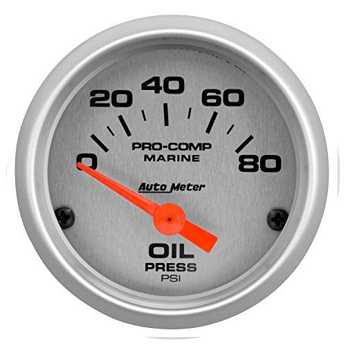 AutoMeter 200744-33 Marine Electric Oil Pressure Gauge 2-1/16 in. Silver Dial Face Brushed Aluminum Bezel