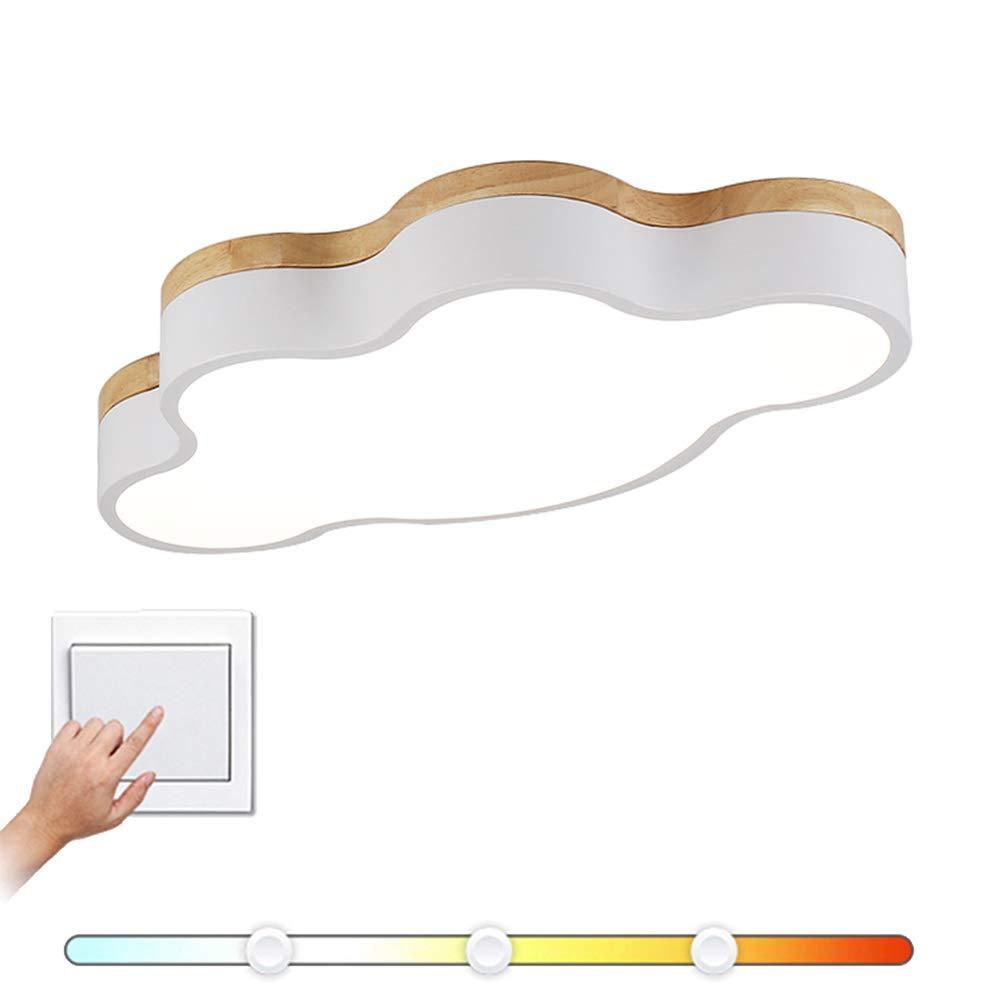 VinDeng Nordisch Weiß Deckenleuchte, 16W Kinderzimmer Deckenlampe Für Schlafzimmer Kinder Wolke Acryl Holz Pendellampe-50CM Trichromes Dimmen