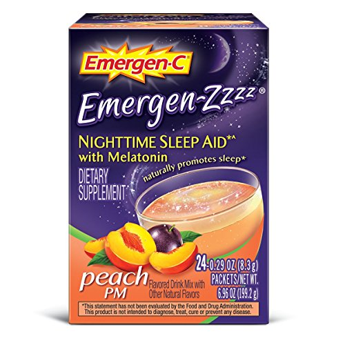 Emergen-C Emergen-Zzzz (24 Count, Peach PM Flavor) Dietary Supplement Fizzy Drink Mix Nighttime Sleep Aid with Melatonin with 500mg Vitamin C 0.29 Ounce Packets