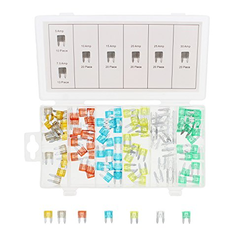 ABN 120-Piece Small Fuse Assortment - 5, 7.5, 10, 15, 20, 25, 30 AMP - Mini ATM/APM Blade Fuses for Cars, Trucks, Boats ()
