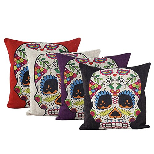 Hatop 4Pcs Skull Linen Cotton Square Shaped Decorative Sofa Chair Couch Pillowcase (Foam Inserts For Couches compare prices)