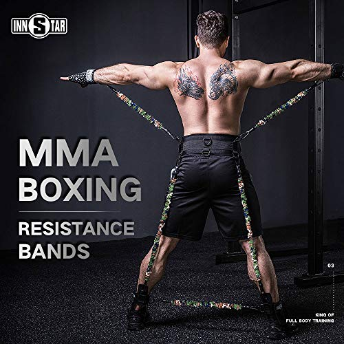 INNSTAR MMA Boxing Training Natural Latex Resistance Band Set Bodybuilding Training Equipment for Men&Women (225LB Camo Army Green)